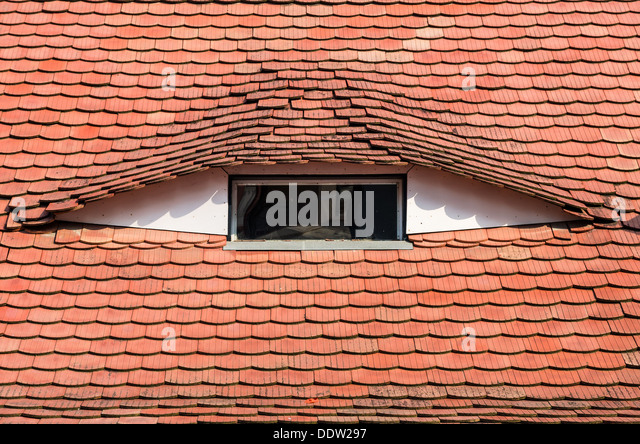 Saxon medieval architecture detail in old city of Sibiu, Transylvania. Romania - Stock Image