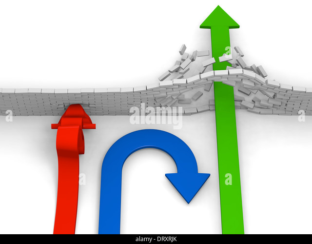 One arrow crashes into obstacle, one turns back and one breaks through advancing forward, concept of alternatives - Stock Image