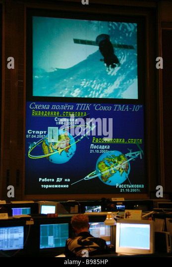 A Soyuz TMA 10 spacecraft mission graph screened at the Mission Control Center in Korolev near Moscow - Stock Image