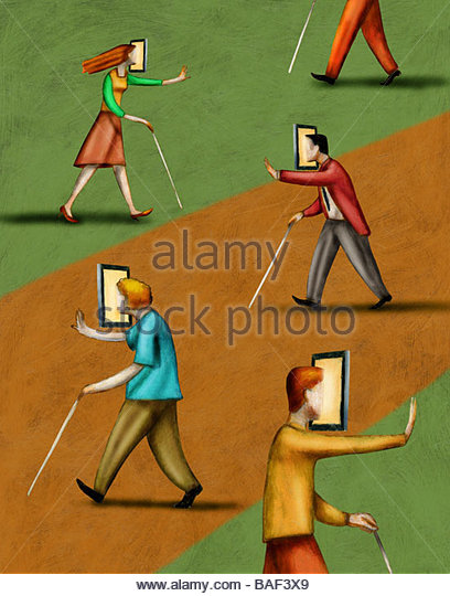Blinded by Technology - Stock Image