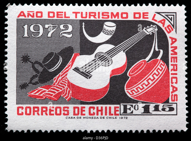 Guitar and Earthen Jar, postage stamp, Chile, 1972 - Stock Image