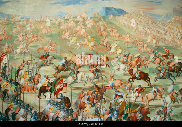 Hall of Battles mural Monasterio de El Escorial Madrid Spain  Europe - Stock Image