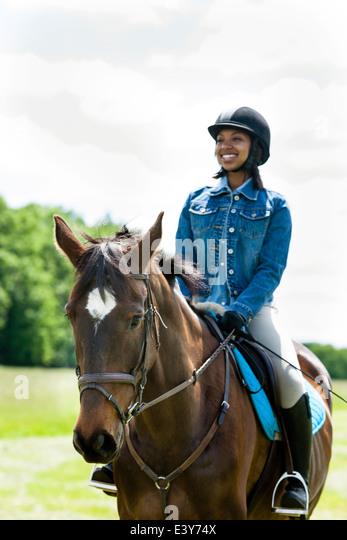 Horse rider on horse - Stock Image