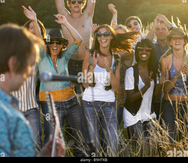 Concert in a field - Stock Image