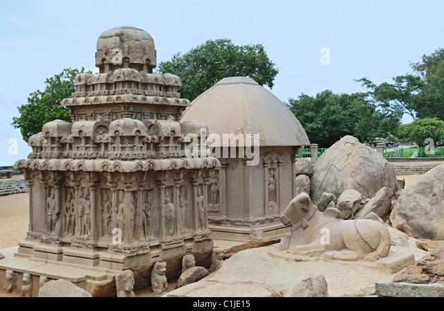 General View of Arjuna Ratha, behind is seen Drupati Rath, Mahabalipuram, Kancheepuram district, Tamil Nadu India - Stock Image