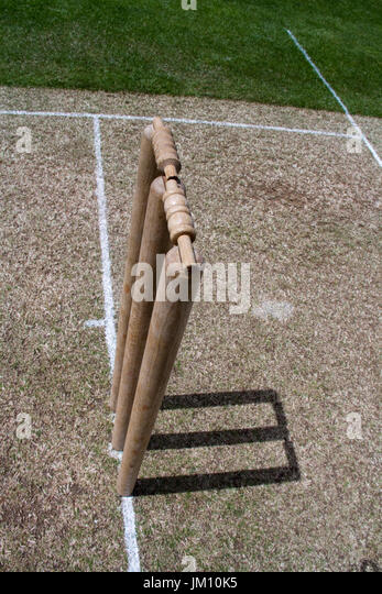 Top view of a cricket wicket on a sunny day - Stock Image