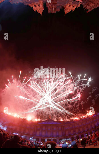A view of the Apostle's fireworks during the eve of the Day of Galicia, at the Obradoiro square in Santiago - Stock Image