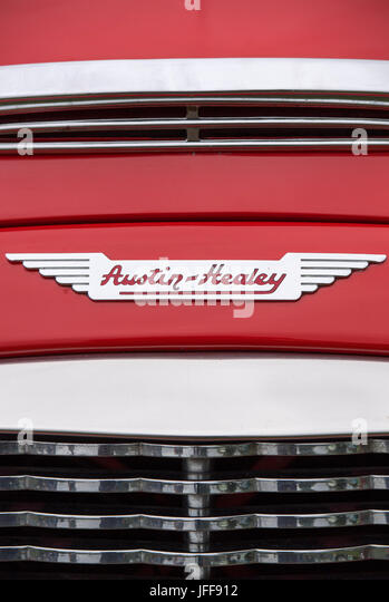 Detail of the front of a classic Austin Healey car - Stock Image