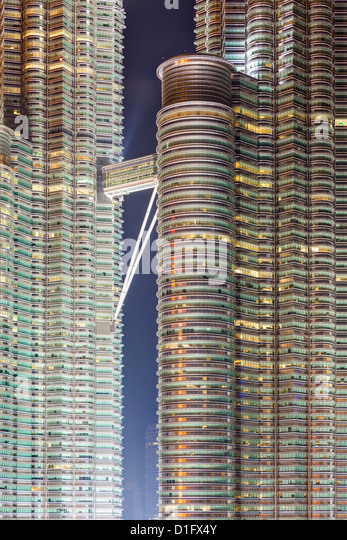 Detail view of the Petronas Twin Towers, Kuala Lumpur, Malaysia, Southeast Asia, Asia - Stock Image