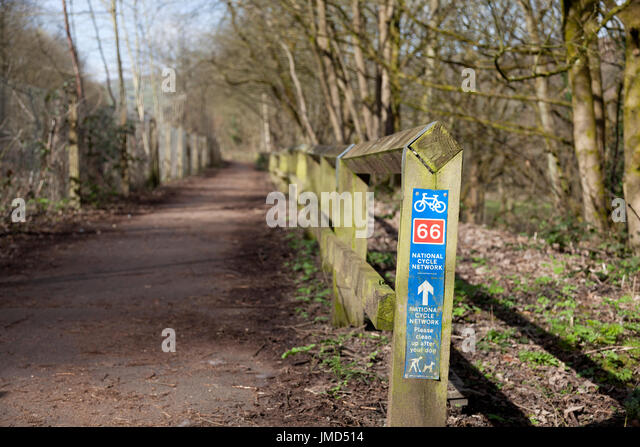 Calder Valley Greenway with National Cycle Network sign, Luddenden Foot, West Yorkshire - Stock Image