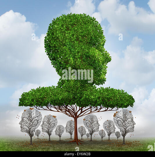 Social inequality concept as a giant tree shaped as a human head blocking the light to smaller trees that have lost - Stock Image