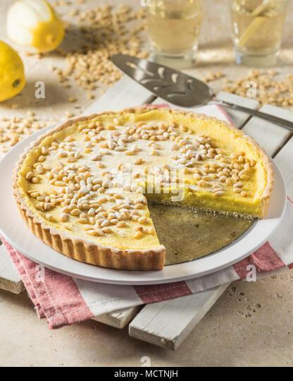 Torta della nonna. Grandmother's tart. Italy Food - Stock Image