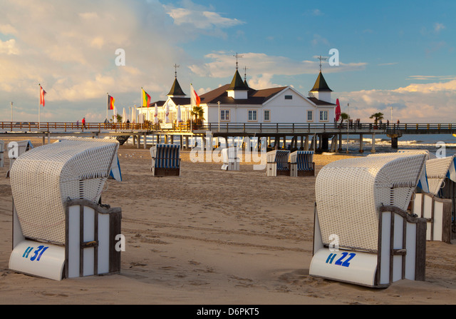 Beach chairs and the historic Pier in Ahlbeck on the Island of Usedom, Baltic Coast, Mecklenburg-Vorpommern, Germany, - Stock Image