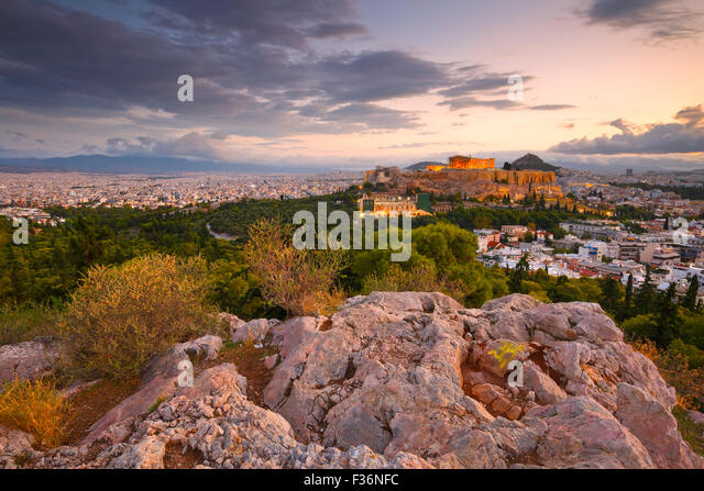 Morning view of Acropolis from Filopappou hill in centre of Athens. - Stock Image