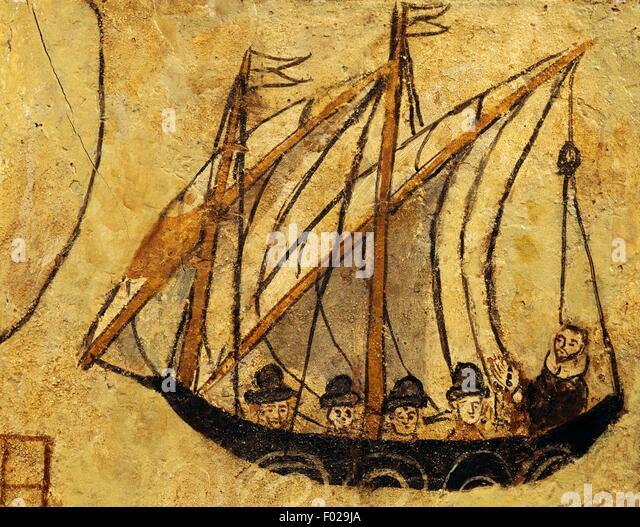 Sailing boat, seafaring ex voto, Italy, 16th century. - Stock Image
