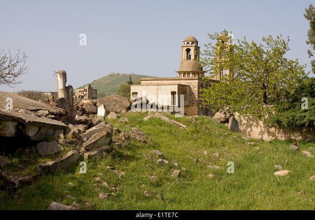 Greek orthodox Church in Quneitra, a village destroyed by Israel before its withdrawal after the Yom Kippur War - Stock Image