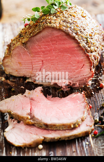 sliced beef roast - Stock Image