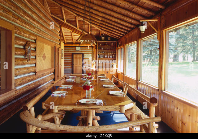 Before Picture Rosseau Log Cabin Dining Room . Cozy Cabin Stock Photos Cozy  Cabin Stock Images Alamy