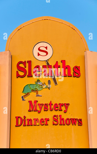 Orlando, Florida, dinner theater Sleuths Mystery Dinner Show sign - Stock Image