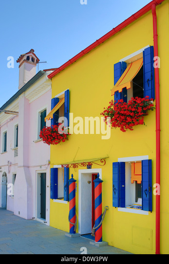 Italy, Europe, travel, Burano, architecture, colourful, colours, tourism, Venice - Stock-Bilder