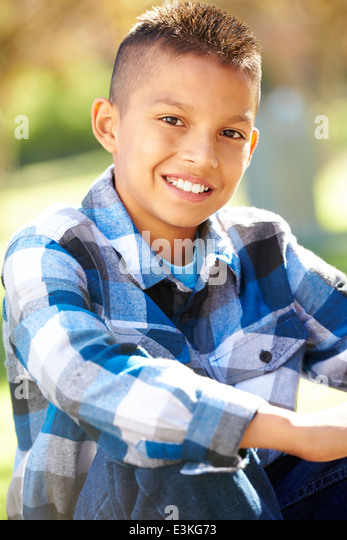 Portrait Of Hispanic Boy In Countryside - Stock-Bilder