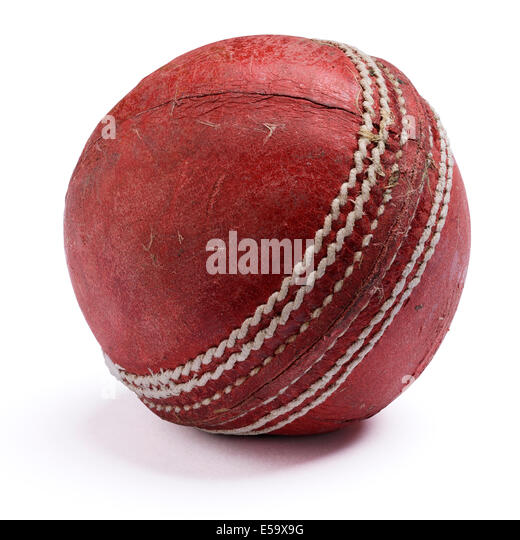 Old worn out red leather cricket ball - Stock Image