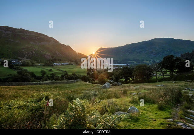 Rising Sun over Glenridding - Stock Image