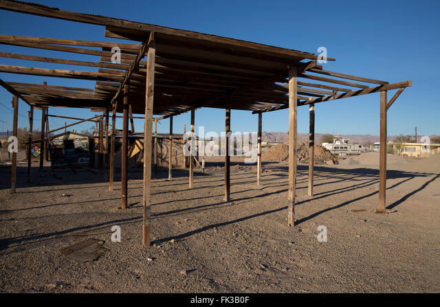Abandoned structure in Bombay Beach on the Salton Sea California - Stock Image