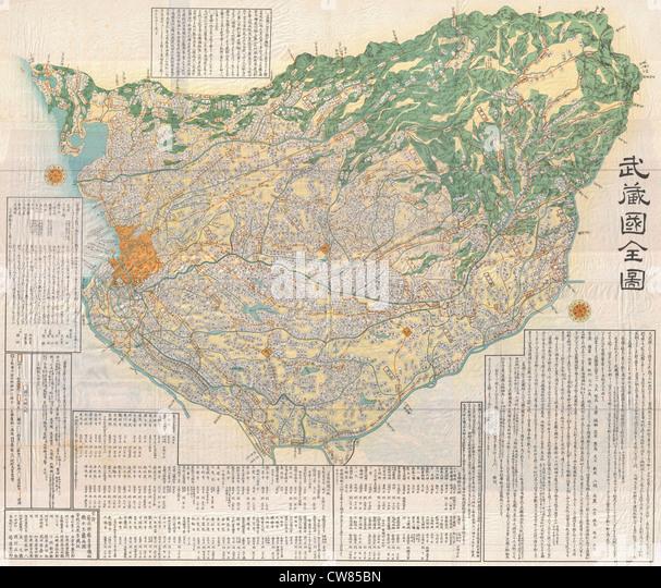 1856 Japanese Edo Period Woodblock Map of Musashi Kuni (Tokyo or Edo Province - Stock Image