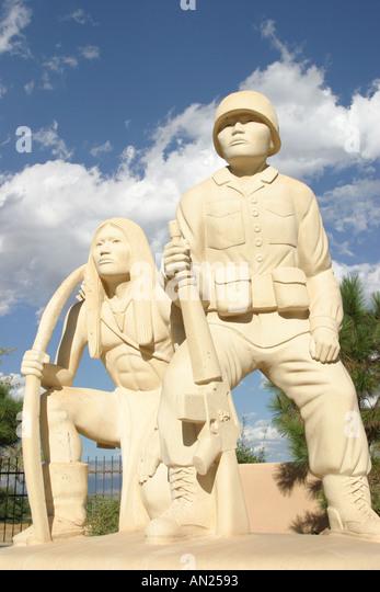 Albuquerque New Mexico Indian Pueblo Cultural Center statue at entrance W - Stock Image