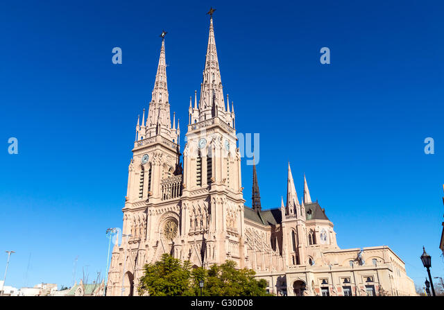 The famous cathedral of Lujan in the province of Buenos Aires, Argentina - Stock Image