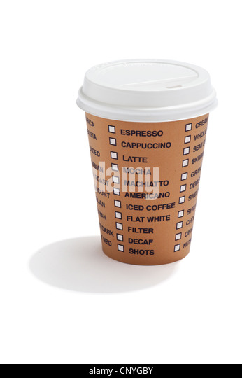 A takeaway drink cup with list of coffee options on it - Stock Image