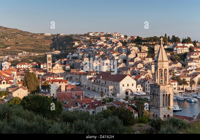 Panoramic view over old city center of Hvar , Croatia - Stock Image