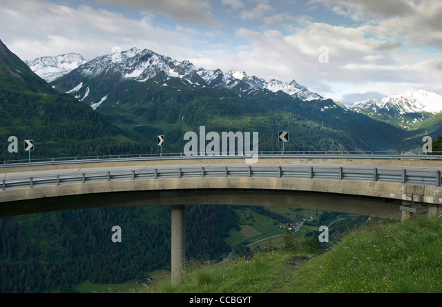 flyover of st, gotthard pass, st. gotthardpass, switzerland - Stock Image