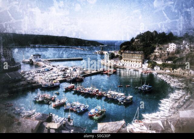 Harbor in Luarca, Asturias - Spain - Stock Image