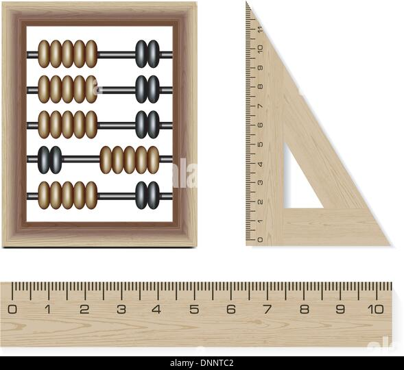 wooden abacus and rulers isolated on white background - Stock Image