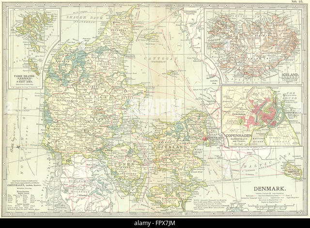DENMARK: & Iceland: Copenhagen Faroes, 1903 antique map - Stock Image