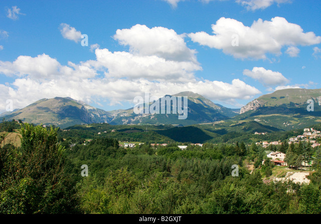 glorious countryside of the Sibillini National Park ,Amandola,Le Marche,Italy - Stock Image