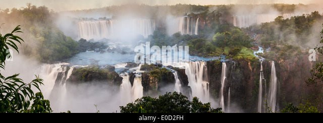 Early morning at Iguasu Falls, photographed from Brazilian side, State of Parana, Brazil - Stock-Bilder