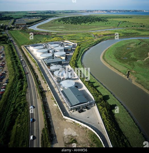Rural industrial development on river estuary Sandwich Kent UK aerial view - Stock-Bilder