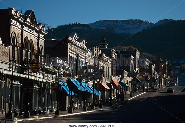 Colorado Rocky Mountains Cripple Creek Bennet Avenue lined with casinos & gift shops sunrise - Stock Image