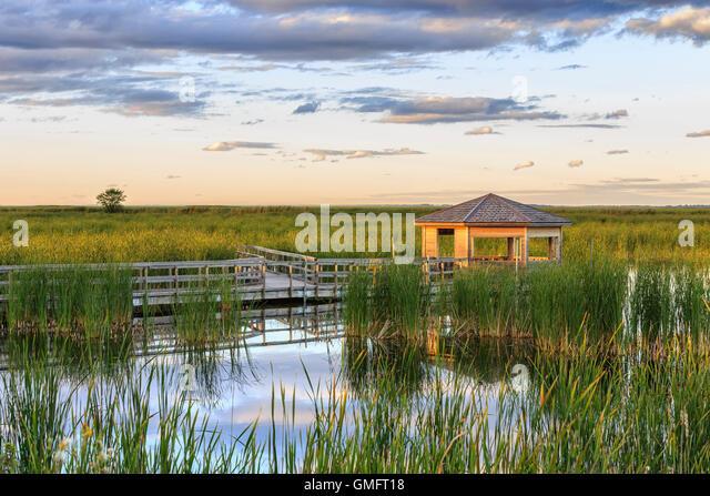 Wildlife viewing blind, Oak Hammock Marsh, Manitoba, Canada. - Stock Image