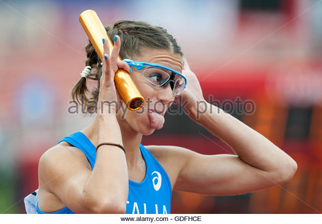 Amsterdam The Netherlands 10th July Final day of the 2016 European Athletics Championships in Amsterdam. 4x100m - Stock Image