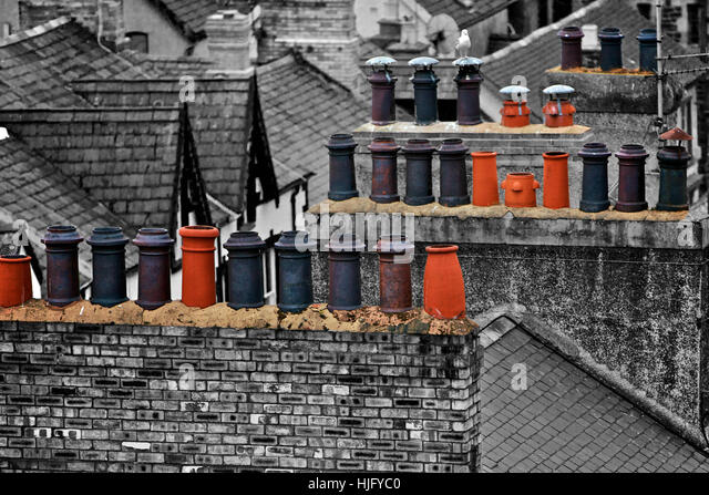 Chimneys in Wales, England - Stock Image