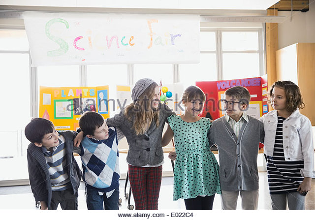 Elementary students at science fair - Stock Image