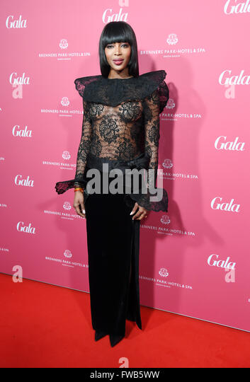 Baden-Baden, Germany. 2nd Apr, 2016. Naomi Campbell posing at the Gala Spa Awards ceremony 2016 at Brenners Park - Stock Image