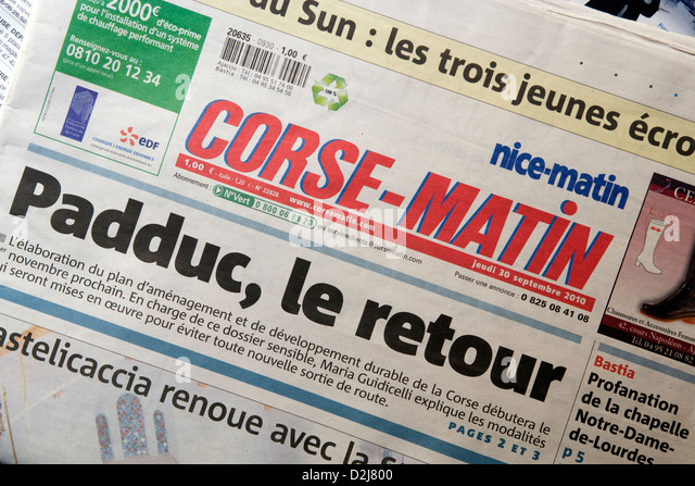 Corsica: 'Corse-Matin' newspaper - Stock Image
