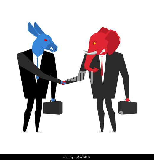 elephant and donkey deal. Democrats and Republicans shake hands. Handshake of businessmen. Agreement between politicians. - Stock Image