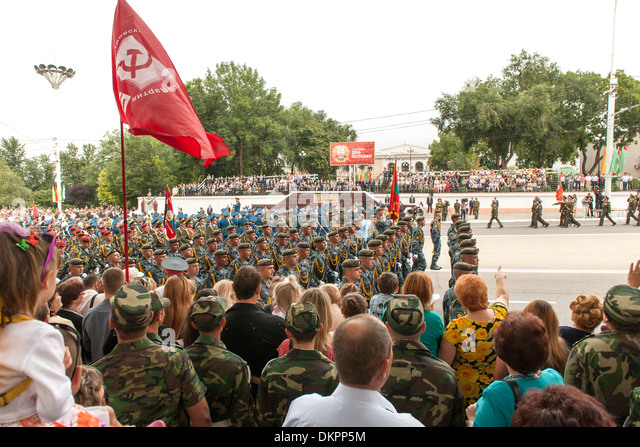 Independence Day parade and celebrations in Transnistria on 2nd September. - Stock Image