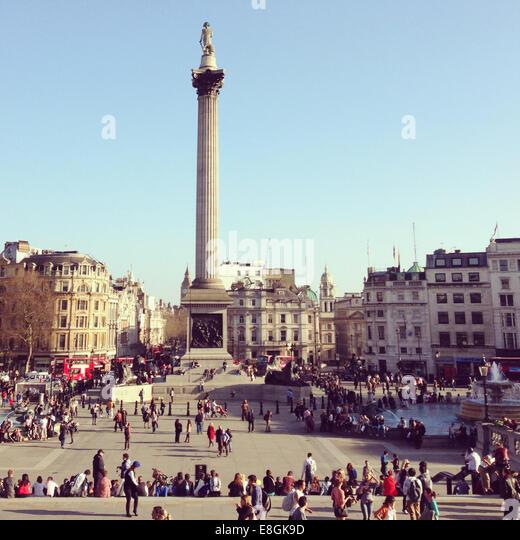 United Kingdom, London, Column on Trafalgar Square - Stock Image